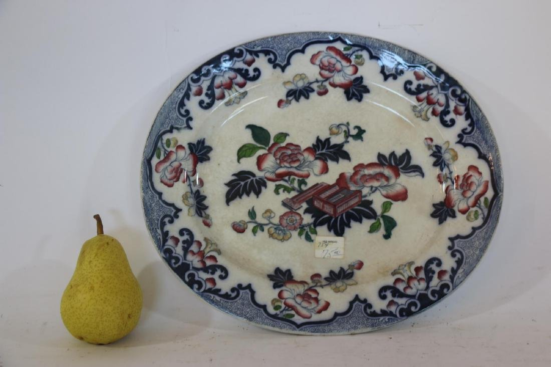 ENGLISH ANTIQUE FLORAL IRONSTONE PLATTER - 3