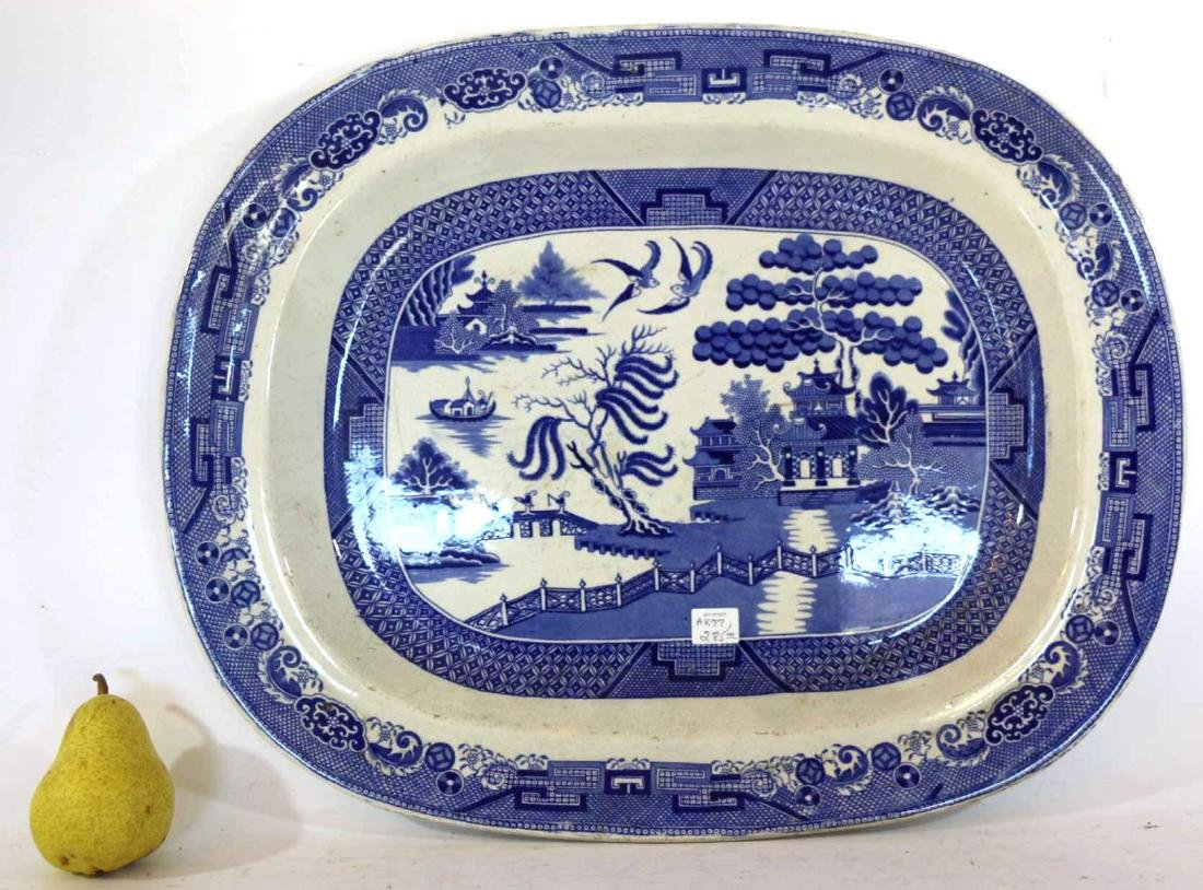 ANTIQUE BLUE WILLOW PLATTER BY TWIGG POTTERY