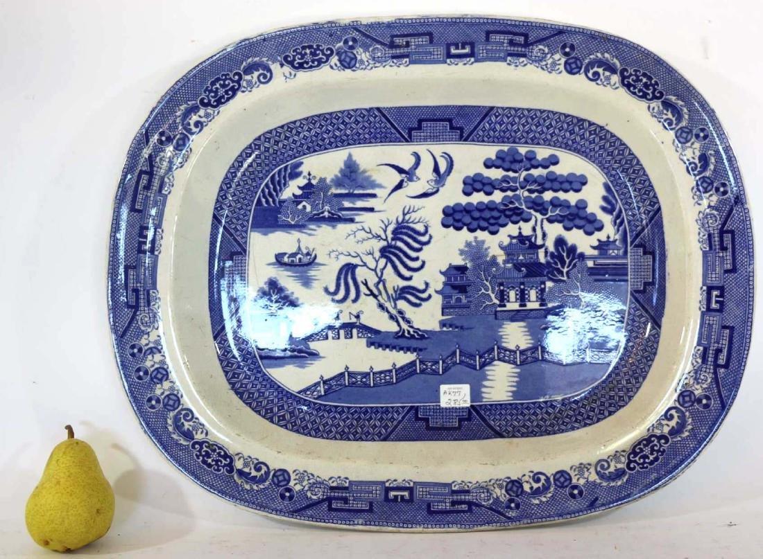ANTIQUE BLUE WILLOW PLATTER BY TWIGG POTTERY - 6