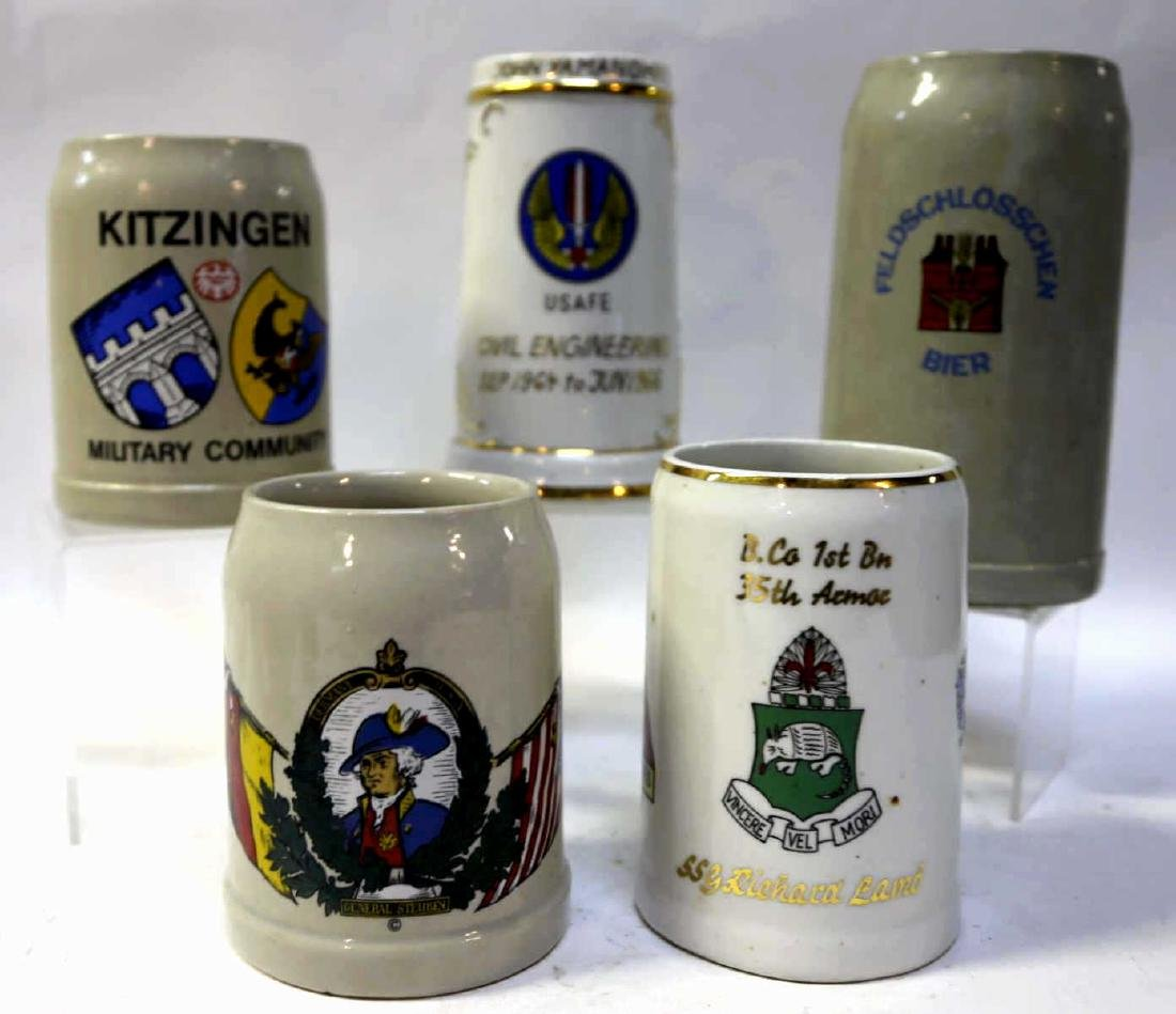 MILITARY VINTAGE  BEER STEIN GROUPING