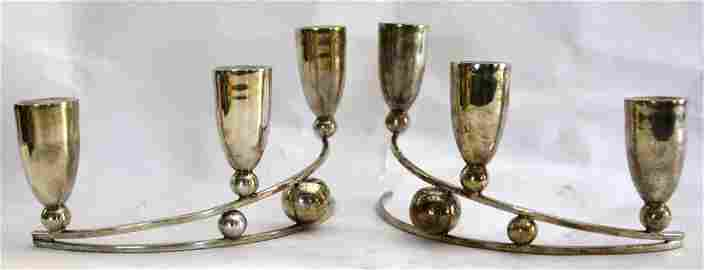 P. LOPEZ  G. STERLING SILVER MODERN CANDLE STICKS