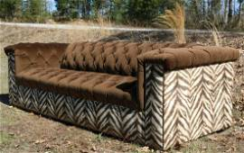 OLD HICKORY TANNERY ZEBRA TUFTED CHESTERFIELD