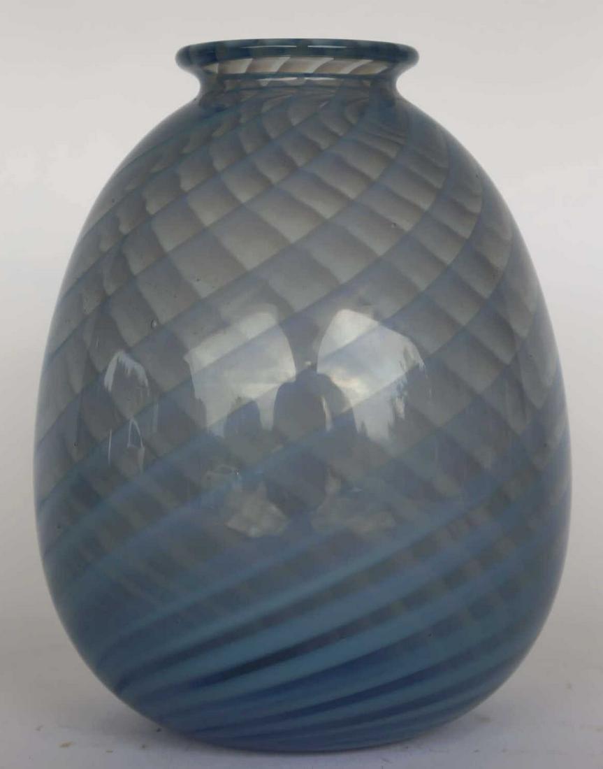 ITALIAN HAND BLOWN RIBBON ART GLASS VASE