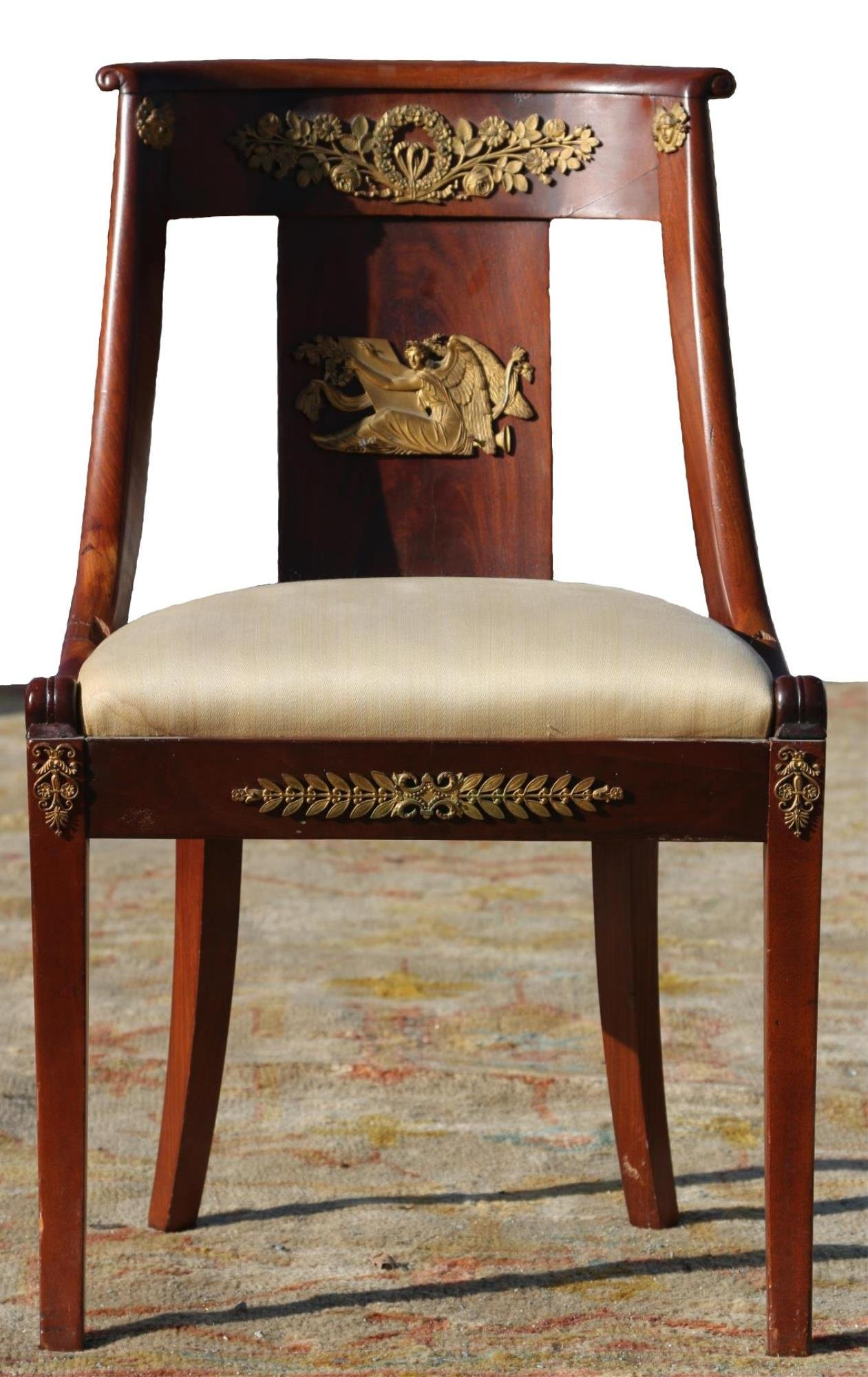 FRENCH  ANTIQUE EMPIRE MAHOGANY / BRONZE CHAIR