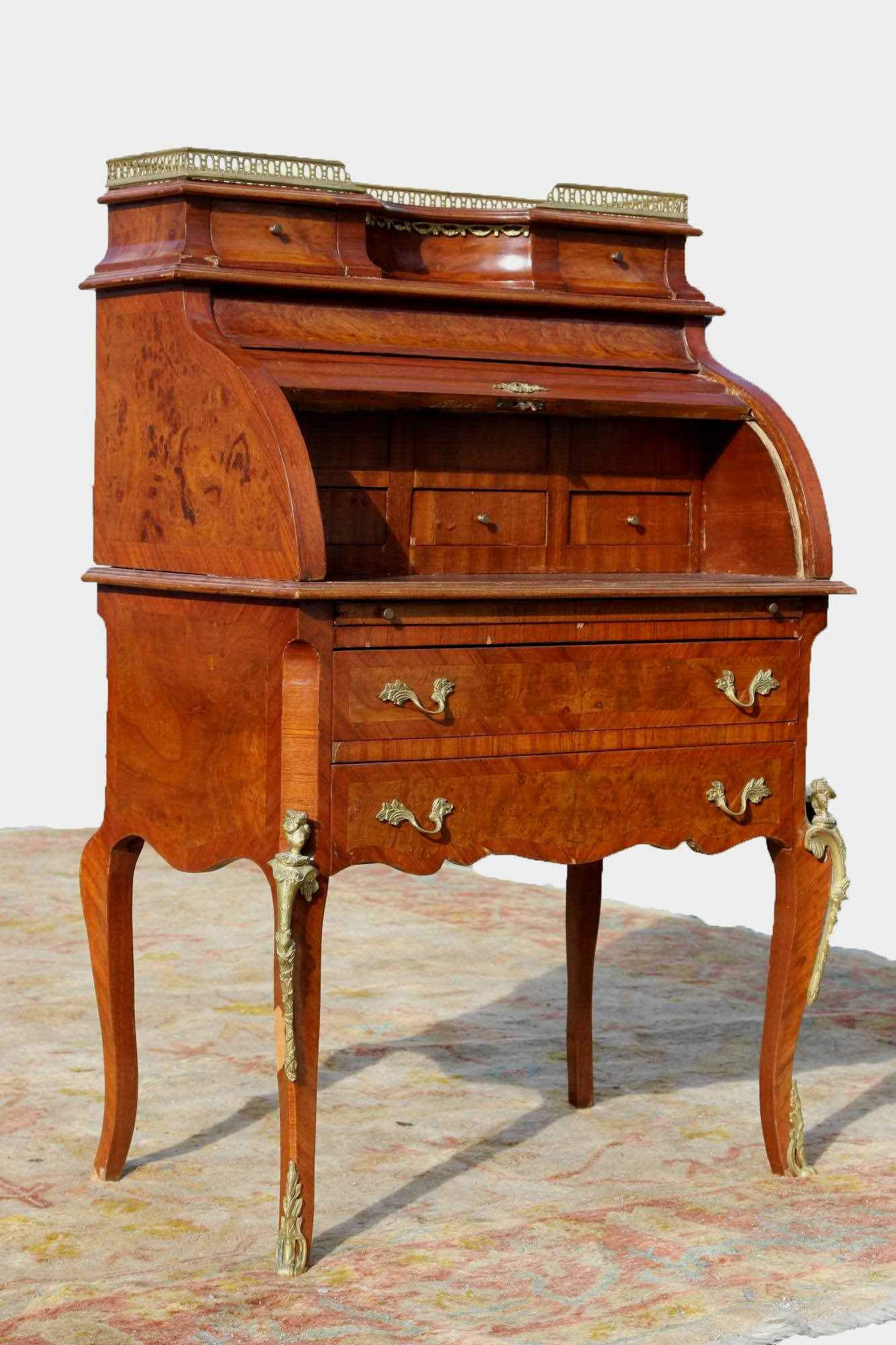 FRENCH FINE INLAID ROLL TOP LOUIS XV DESK