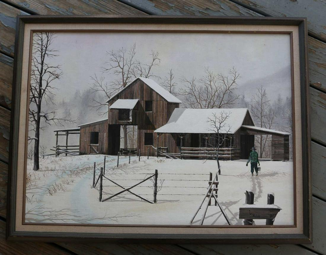 WARD NICHOLS ORIGINAL OIL ON CANVAS BARN SCENE