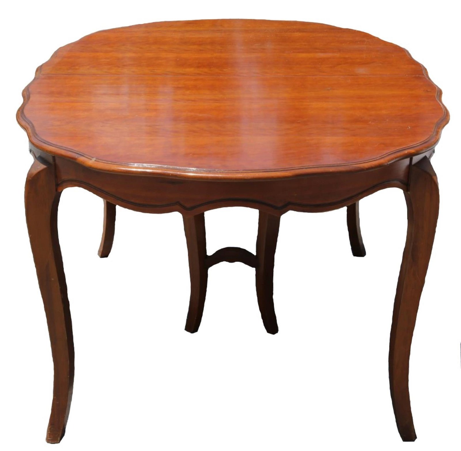 FRENCH PROVENCIAL MAHOGANY DINING TABLE W/ LEAVES