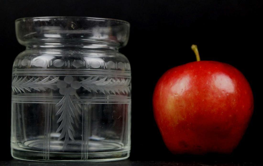 FINE HAND ETCHED GLASS ANTIQUE JAM JAR