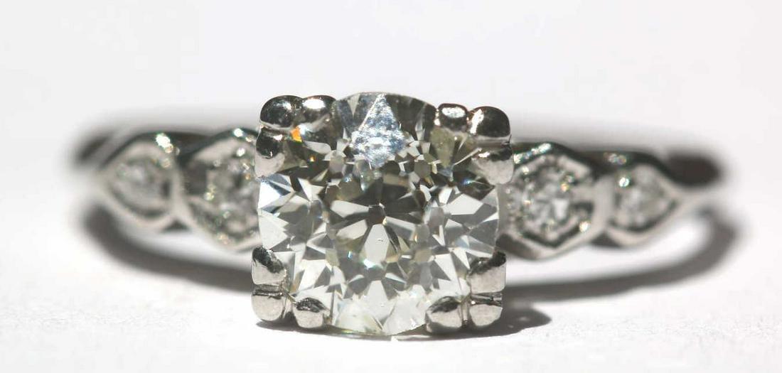 PLATINUM MINE CUT 1+ CARAT DIAMOND ENGAGEMENT RING