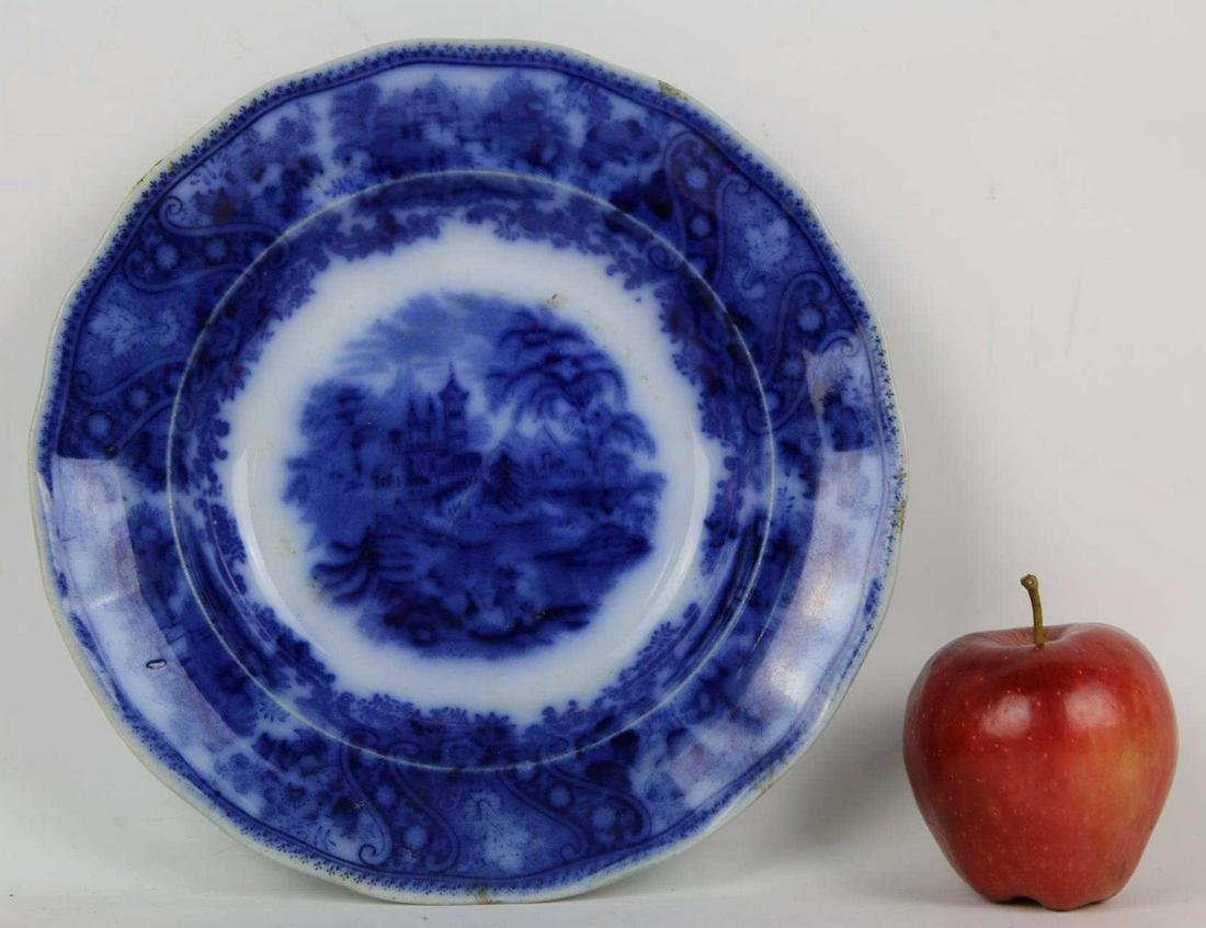MIDDLEPORT POTTERY ENGLISH FLOW BLUE CABINET PLATE