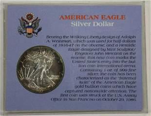 1987 AMERICAN EAGLE WALKING LIBERTY 1 OZ BU .999