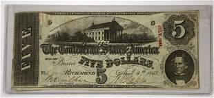 1863 RICHMOND CONFEDERATE $5 PAPER NOTE