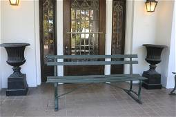 """ANTIQUE 72"""" SOUTHERN IRON FRAMED PORCH BENCH"""