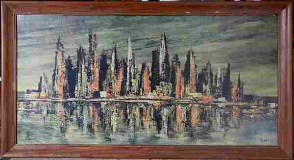 MCM ABSTRACT CITY SCAPE PAINTING PRINT BY CARTER