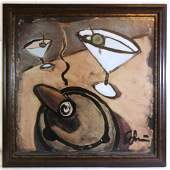 MODERN LIBATION ABSTRACT ILLEGEBLY SIGNED