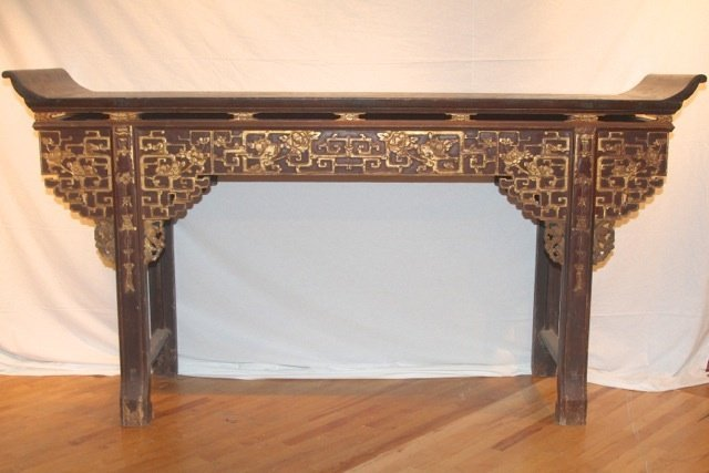 17: 19th Cent. Chinese Gilded Table by Luisana Designs