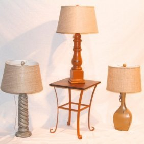 Three Lamps With Shades & Table By Coast Lamp
