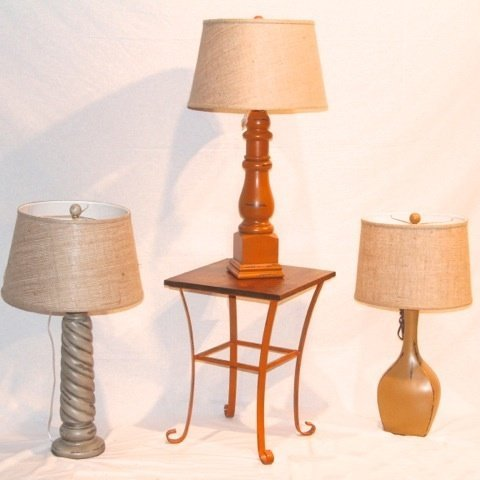 11: Three Lamps with Shades & Table by Coast Lamp