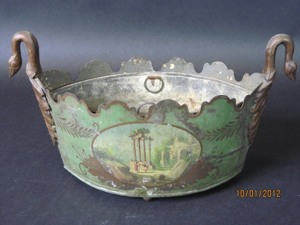 19TH CENTURY TOLE CACHE POT WITH SWANS HEAD HANDLES: