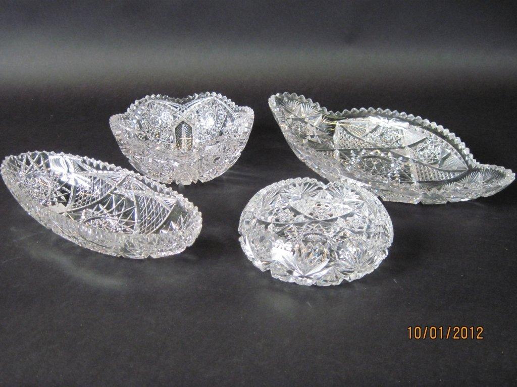 FOUR PIECES OF BRILLIANT CUT GLASS: