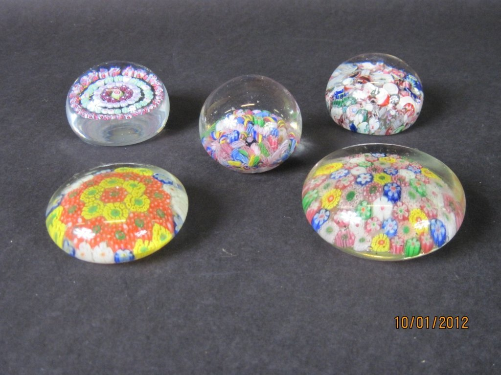 GROUP OF FIVE MILLEFIORI PAPERWEIGHTS: