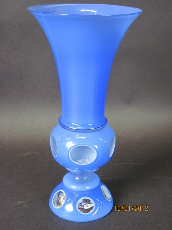 BLUE GLASS VASE CUT TO CLEAR WITH MILLEFIORI BASE: