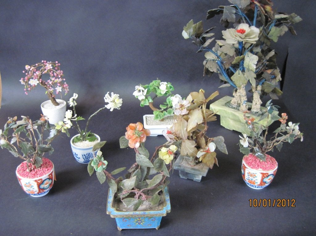 GROUP LOT OF EIGHT CHINESE HARD STONE TREES: