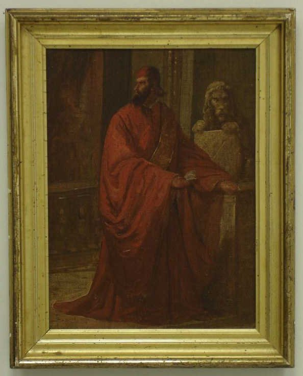 OIL ON CANVAS CLERGYMAN IN RED ROBE: