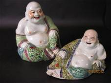 TWO CHINESE PORCELAIN BUDDHAS: