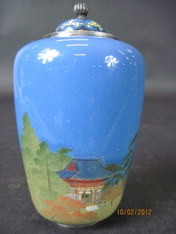 IMPORTANT JAPANESE CLOISONNÉ LIDDED AND SIGNED VASE:
