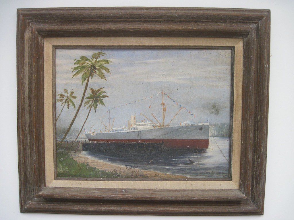 """FREIGHTER STEEL TRADER IN HARBOR RABAUL NEW GUINEA"":"