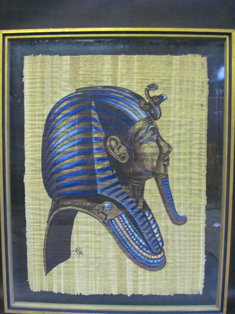 24: KING TUT DEATH MASK ON PAPYRUS: