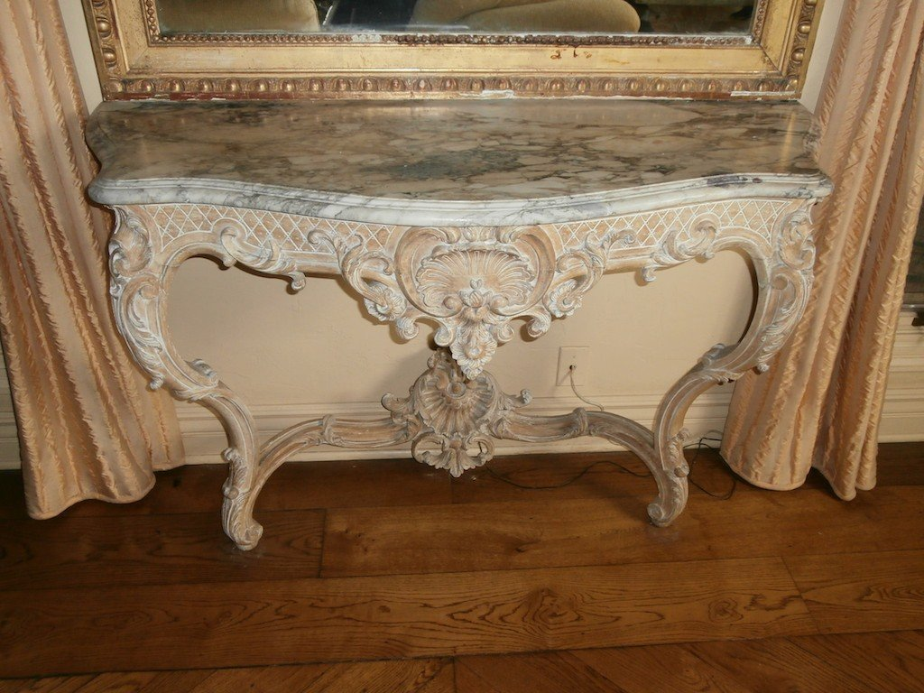 30: FINE 19TH CENTURY FRENCH MARBLE TOP CONSOLE: