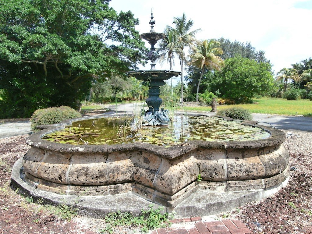 64: BRONZE PATINA METAL & CARVED STONE DOUBLE FOUNTAIN: