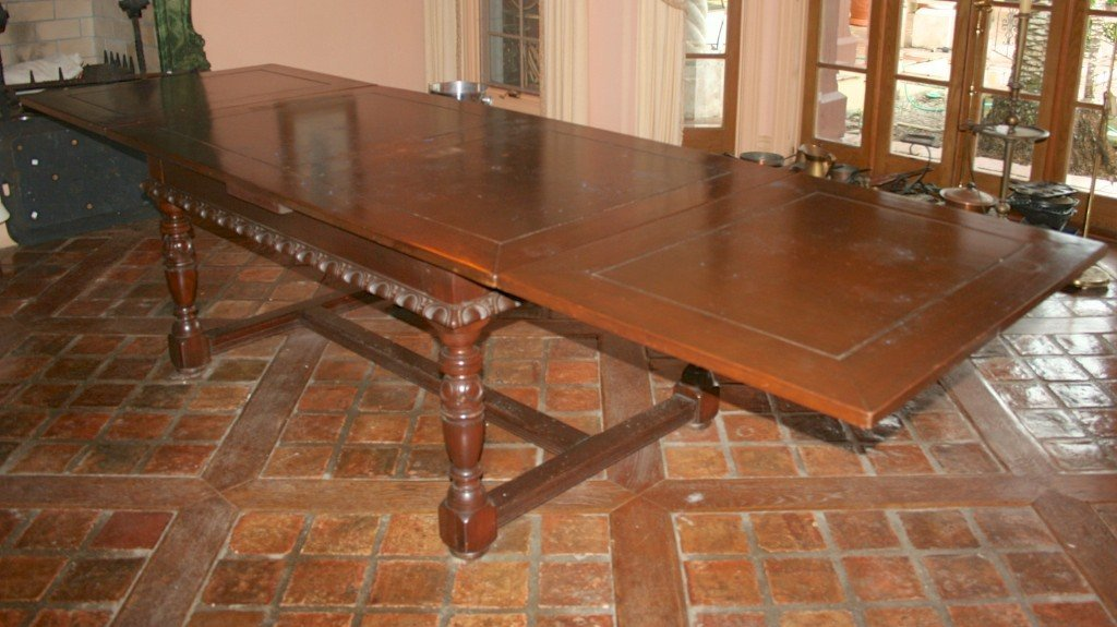 4: ANTIQUE ENGLISH OAK DRAW LEAF DINING TABLE:
