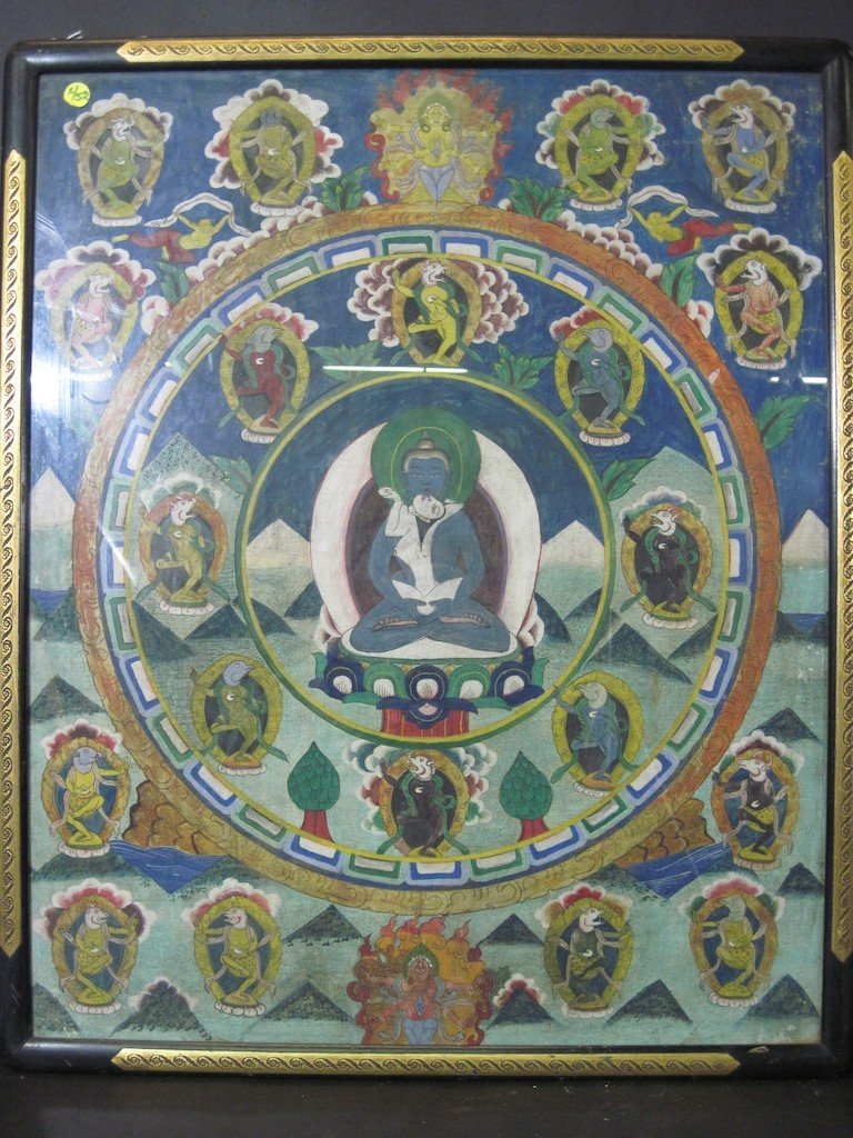 21: TIBETAN DEITY MANDALA PAINTING ON SILK: