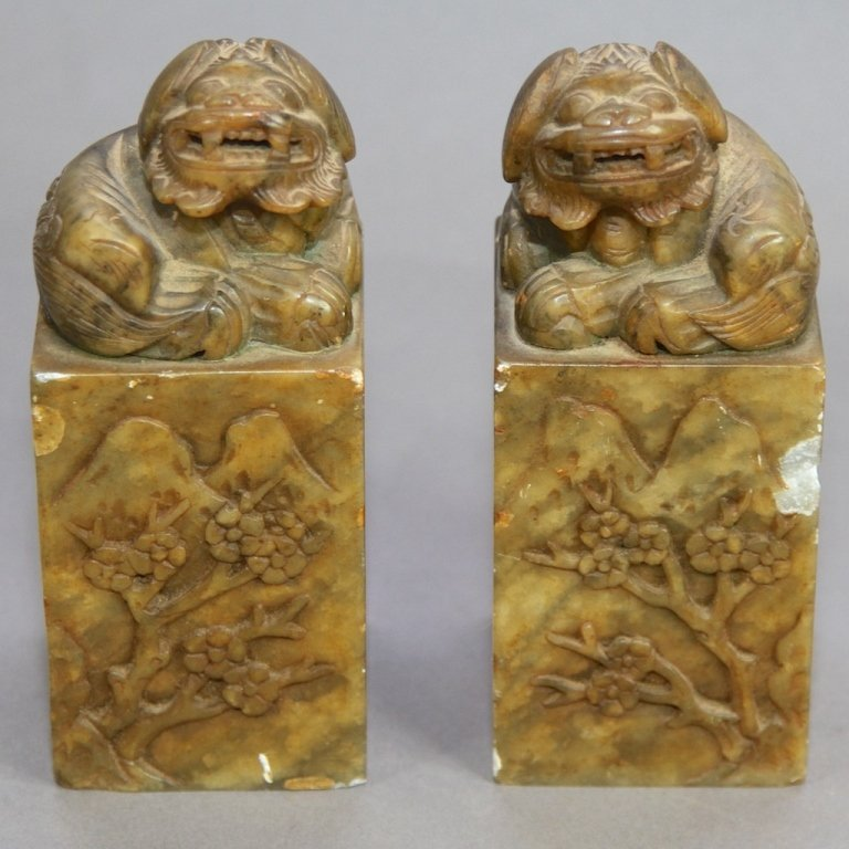 17: TWO CHINESE SOAPSTONE CHOPS AND SEALS: