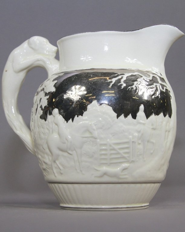 21: WEDGWOOD CREAMWARE PITCHER W/ STERLING OVERLAY: