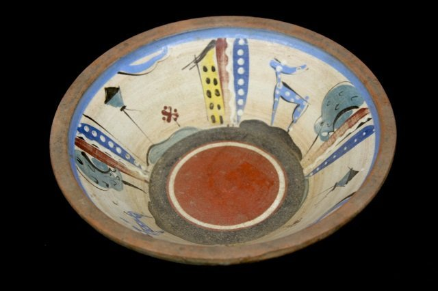 ASIAN HAND PAINTED POTTERY  BOWL: