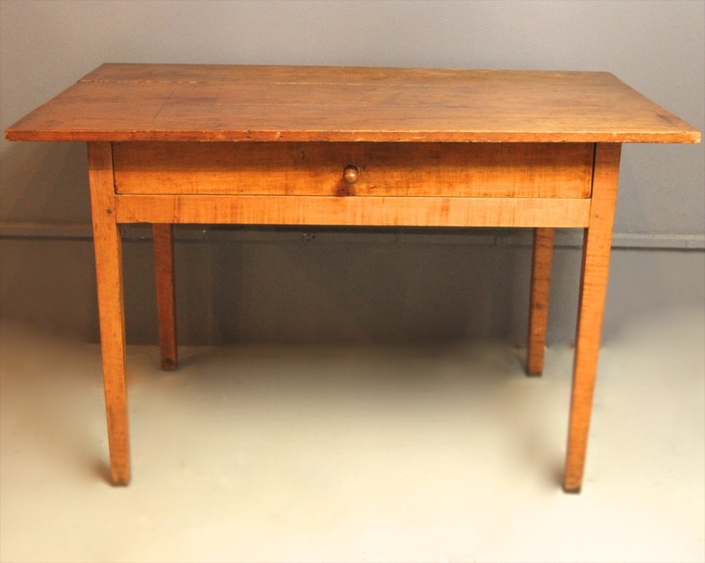 SOUTHERN PRIMITIVE ONE DRAWER TIGER MAPLE TABLE: