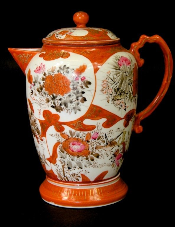 RED CHINESE PORCELAIN TEAPOT: