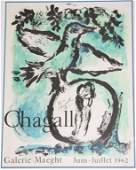 MARC CHAGALL 1962 SIGNED GALLERY POSTER