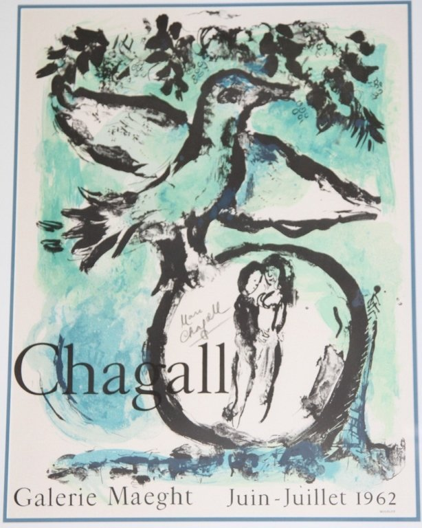MARC CHAGALL 1962 SIGNED GALLERY POSTER: