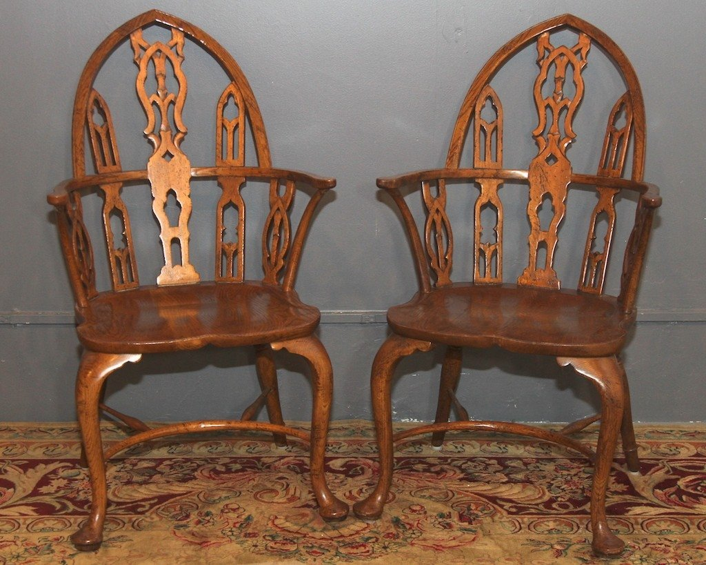 """BAKER"" PAIR OF FINE GOTHIC WINDSOR CHAIRS:"