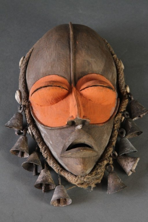 EARLY AFRICAN BELL TASSLE TRIBAL MASK: