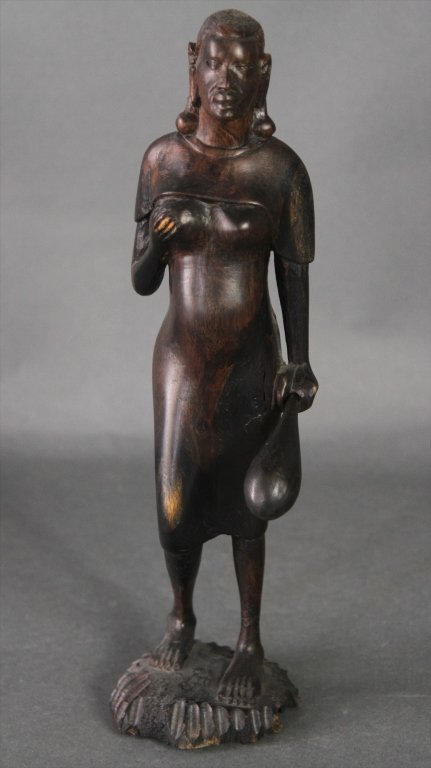 EARLY AFRICAN CARVED FEMALE TRIBAL FIGURE: