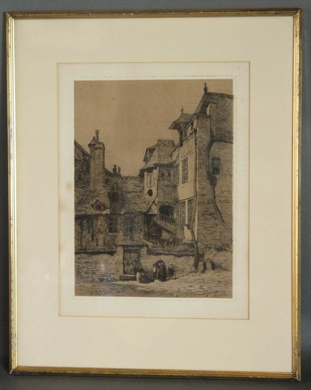 19TH C. ENGRAVING ILLEGIBLY SIGNED: