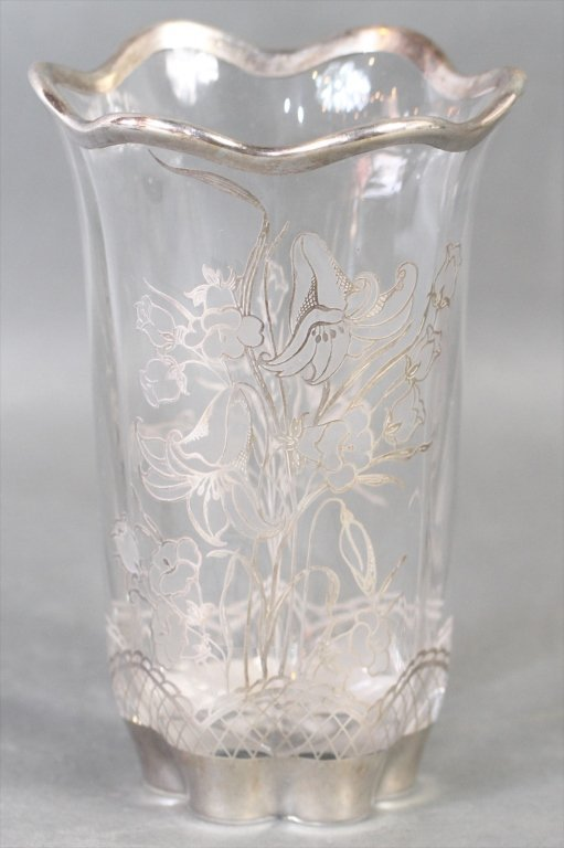 ETCHED GLASS VASE: