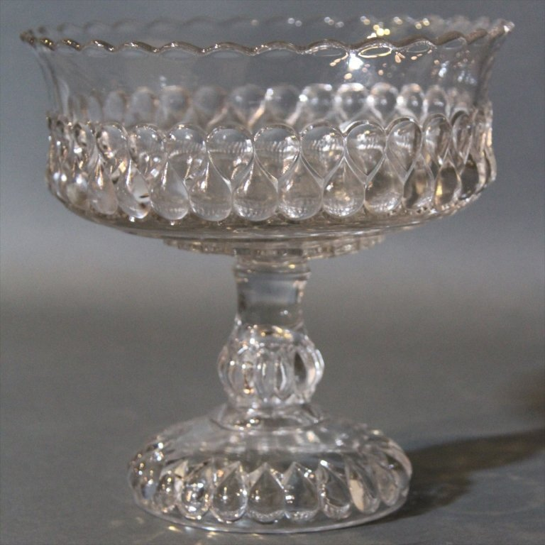 PRESSED GLASS COMPOTE: