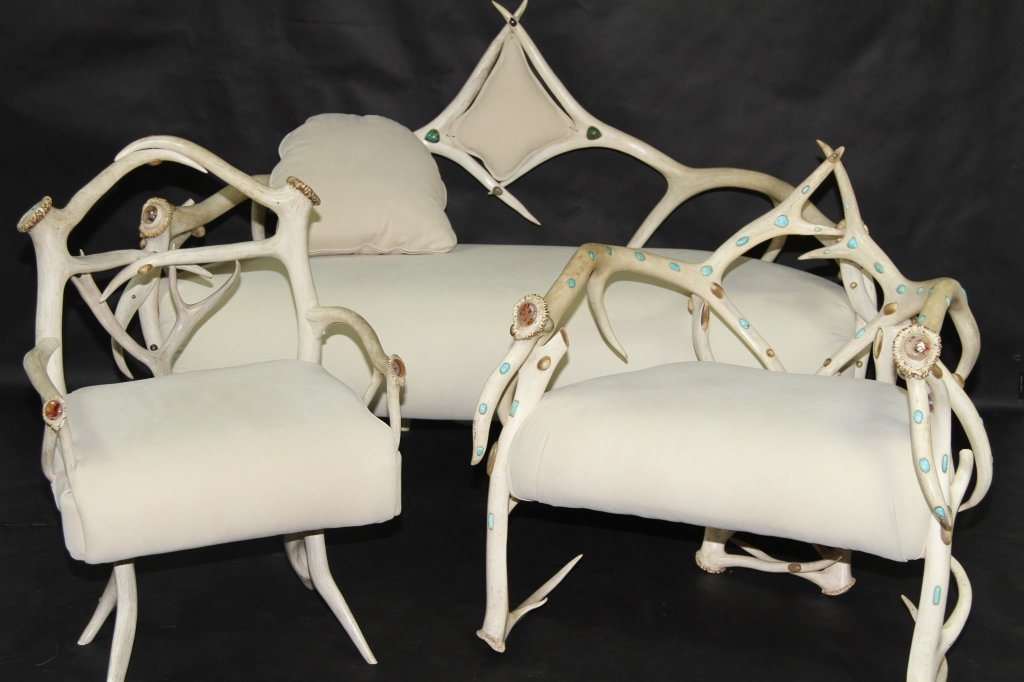 ALCORN ANTLER PARLOR SUITE INLAID WITH TURQUOISE: